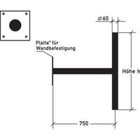 Technische Ansicht: Ausleger, für Wandbefestigung mit Querpfosten, Art. alpwh075
