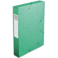 EXACOMPTA Chemise 3 rabats et élastique Exatobox dos de 6 cm, en carte lustrée 5/10e vert