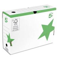 5 ETOILES Boîte archives dos 10 cm. Montage manuel. Carton blanc, imprimé vert.