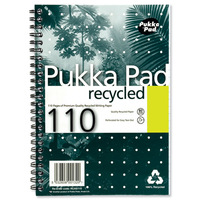 Pukka Pad Recycled Notebook Wirebound 80gsm Ruled Perforated 110pp A5 Green Ref RCA5/110 [Pack 3]