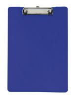 Normalansicht - Ecobra Schreibplatte aus kaschiertem Polypropylen (PP) blau, DIN A4, Stahl-Klemmschiene an kurzer Seite