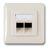 ISDN-Steckdose UP RAL9010 2xWestern 8/8