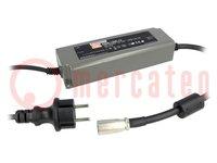 Tápegység: impulzusos; LED; 120W; 12VDC; 10A; 90÷264VAC; 127÷370VDC