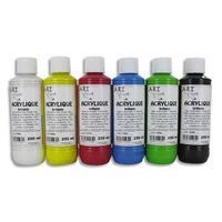 Coffret de 6 x 250ml acrylique brillante blanc, jaune, rouge, bleu, vert, noir
