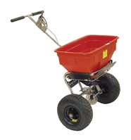 Salt Spreader Coverage 3m Capacity 36kg Pneumatic Tyres Rain Cover Hopper Screen Red