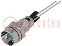 Kontrollleuchte: LED; konkav; Öffng: Ø6mm; Printmontage; Messing