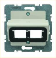Zentralplatte Mod-Jack 2f cws glz Schraubbef Beschr.Feld einrastb