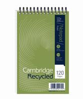 Cambridge Recycled Shorthand Pad Wirebound 70gsm Ruled Perf 120pp 125x200mm Green Ref 100080120 [Pack 10]