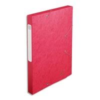 EXACOMPTA Chemise 3 rabats et élastique Exatobox dos de 3 cm, en carte lustrée 5/10e rouge