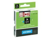 Dymo D1 Labelcassette, 12 mm × 7 m, Rood op Wit