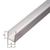 U-Profil, Alu silber elox., LxBxHxS 2000 x 22 x 10 x 1,5 mm