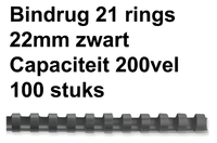 BINDRUG GBC 22MM 21RINGS A4 ZWART