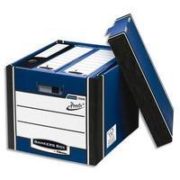 Caisse PRESTO L40xh25,7xp34cm, montage automatique, carton recyclé blanc/bleu