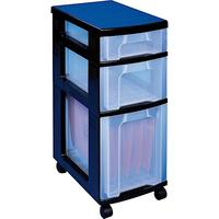 Really Useful Storage Tower Polypropylene 3 Drawers 7L 12L 25L W300xD420xH690mm Black Clear Ref DT1021B