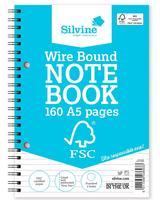 Silvine FSC Notebook Wirebound 56gsm Ruled Perforated 160pp A5 Ref FSCTWA5 [Pack 5]