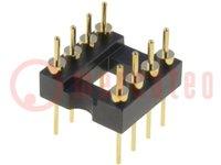 Podstawka: DIP; PIN:8; 7,62mm; złocony; UL94V-0; THT; Raster:2,54mm