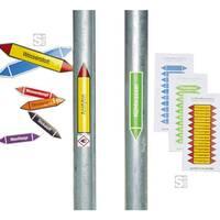 Anwendungsbeispiele: Rohrleitungskennzeichnungs-Etiketten, links: Einzeletiketten, rechts: 10er-Bögen