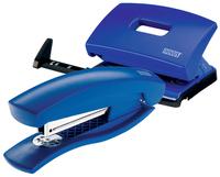 NOVUS C 1 / C 216 Heftgerät/Locher Set, 2 Teile, Metall / Kunststoff, blau