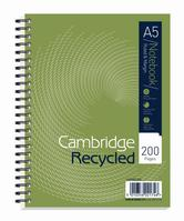 Cambridge Recycled Nbk Wirebound 70gsm Ruled Margin Perf Punched 2 Holes 200pp A5+ Ref 100080106 [Pack 3]