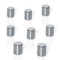 Be!Board Neodym-Magnete, Zylinder, silber, Ø 8 x 10 mm, 8 Stück