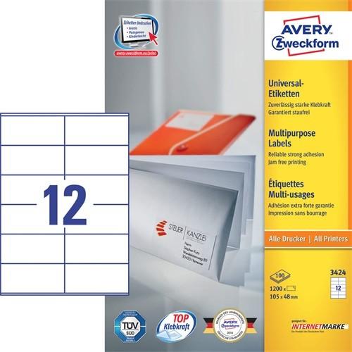 ETIKETT AVERY 3424 105X48 UNIVERZÁLIS - 0125.070