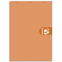 5 ETOILES Bloc agrafé en-tête 160 pages non perforées 80g unies format 14,8x21 (A5) Couverture orange