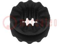Doorvoertule; Ømont.op:6,35mm; D.paneel: max.1,45mm; Mat: rubber