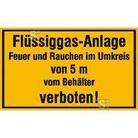 Modellbeispiel: Hinweisschild, Flüssiggas-Anlage, Feuer und Rauchen im Umkreis von 5 m vom Behälter verboten! (Art. 21.5846)