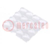Linse für LED; quadratisch; Mat: PMMA Plexiglas; transparent