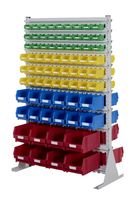 Estanterías de cajas de almacenaje y paneles perforados
