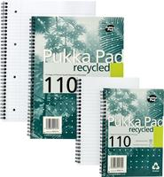 Pukka Pad Recycled Notebook Wirebound Perforated Ruled Margin 4-Hole 80gsm 110pp A4 Ref RCA4 [Pack 3]