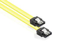 Anschlusskabel SATA 6 Gb/s mit Metallclip, gelb, 0,3m, Good Connections®