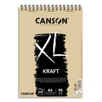 CANSON Album spiralé de 60 feuilles de papier dessin XL KRAFT, format A4, 90G