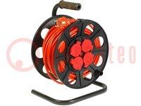 Verlängerungskabel; Trommel; Buchsen:4; PVC; orange; 3x1,5mm2; 25m