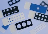 Diagnostica-Objektträger 75x25x1 mm Epoxy, 3 Kammern, schwarz