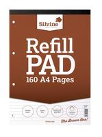 Silvine Refill Pad Headbound 75gsm Ruled Perforated Punched 4 Holes 160pp A4 Brown Ref A4RPF [Pack 6]