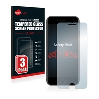 3x Savvies® Xtreme Glass HD33 Panzerglasfolie für Apple iPhone 8