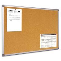 BI-OFFICE Tableau d'affichage en Liège, cadre en PVC Gris - Format : L90 x H60 cm