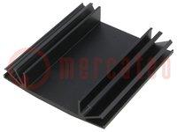 Hűtő: extrudált; bordás; TO3; fekete; L:75mm; W:70mm; H:15mm; 3,7K/W