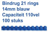 BINDRUG GBC 14MM 21RINGS A4 BLAUW