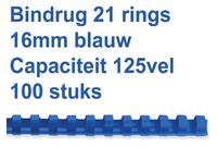BINDRUG FELLOWES 16MM 21RINGS A4 BLAUW