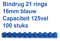 BINDRUG GBC 16MM 21RINGS A4 BLAUW