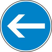 Modellbeispiel: VZ Nr. 211-10, (Vorgeschriebene Fahrtrichtung hier links)