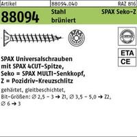 1 Pack ABC-Spax-S Seko ART 88094 SPAX St. 3,5 x 25/20 -Z Wellenschliff, brüniert, SEKO brün (Inhalt: 1000 Stück) von REYHER