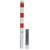 Absperrposten / Feuerwehrpfosten Vierkant 70x70mm, herausnehmbar, mit Dreikantverschluss unten, feuerverzinkt, weiß-rot, ohne Öse