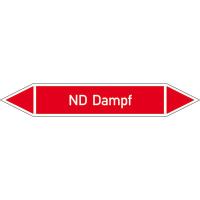 Rohrleitungskennz/Pfeilschild auf Bogen Gr2 Dampf(rot), Folie gest,7,5x1,6cm Version: P2028 DIN 2403 - ND Dampf P2028