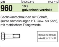 DIN960 M12x1,5x70