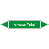 Rohrleitungskennzeichnung/Pfeilschild Gruppe1 Wasser(grün),selbstkl. 12,6x2,6cm Version: P1199 DIN 2403 - Kaltwasser Vorlauf P1199
