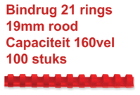 BINDRUG GBC 19MM 21RINGS A4 ROOD