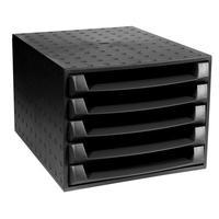 Exacompta Recycled Desktop Recycled Plastic 5 Drawer Set W387xD284xH218mm Black Ref 221014D